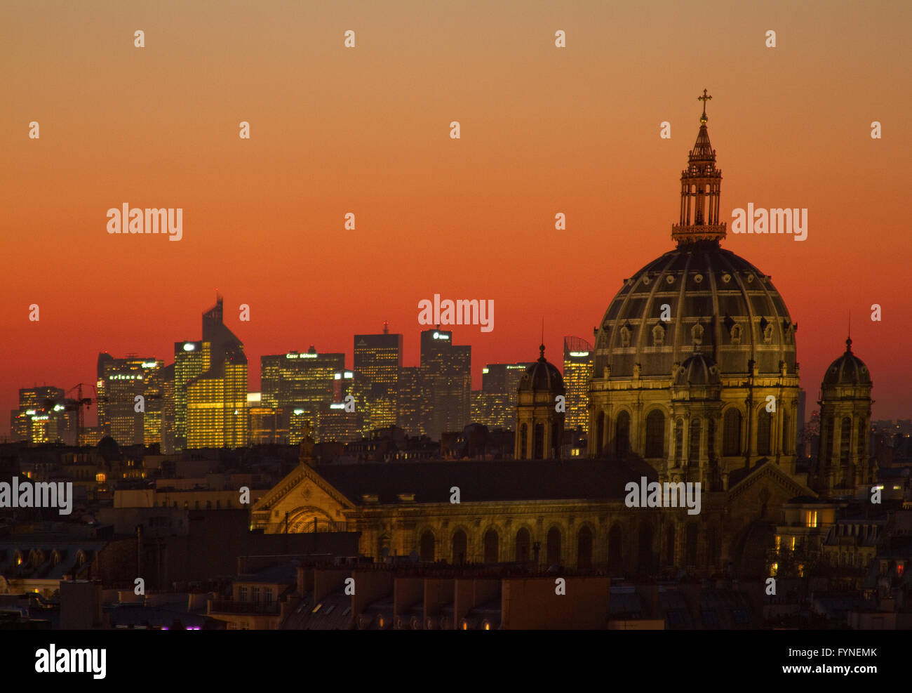 View of Paris at sunset with the church of Saint Augustin and La Defense  Paris France Stock Photo