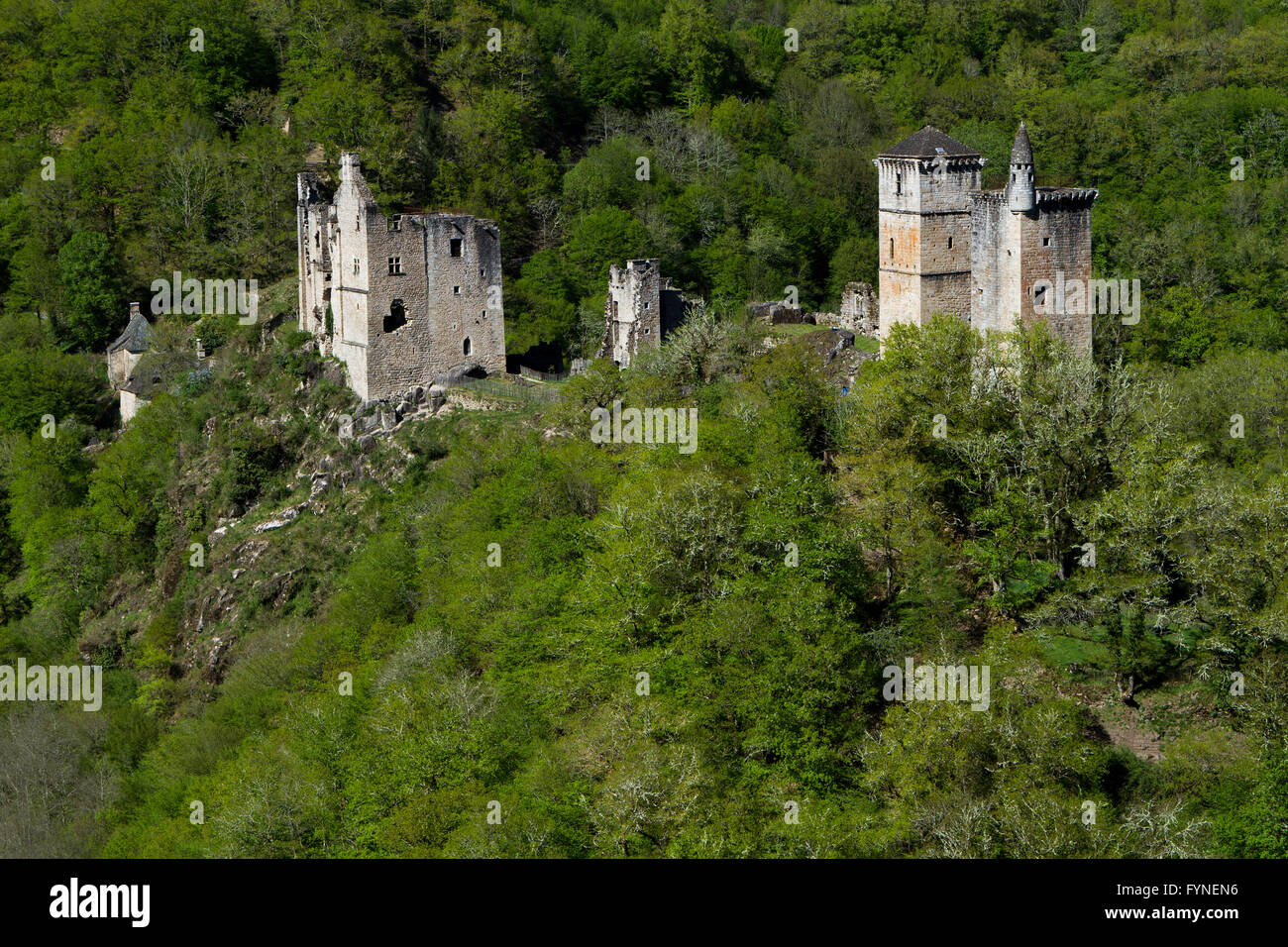Les Tours de Merle 12th century Medieval castle in Corrèze, Aquitaine Limousin Poitou Charentes France Stock Photo