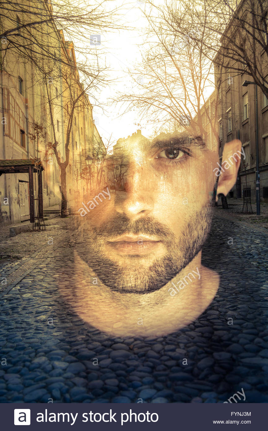 Double exposure image of man, imagination concept Stock Foto