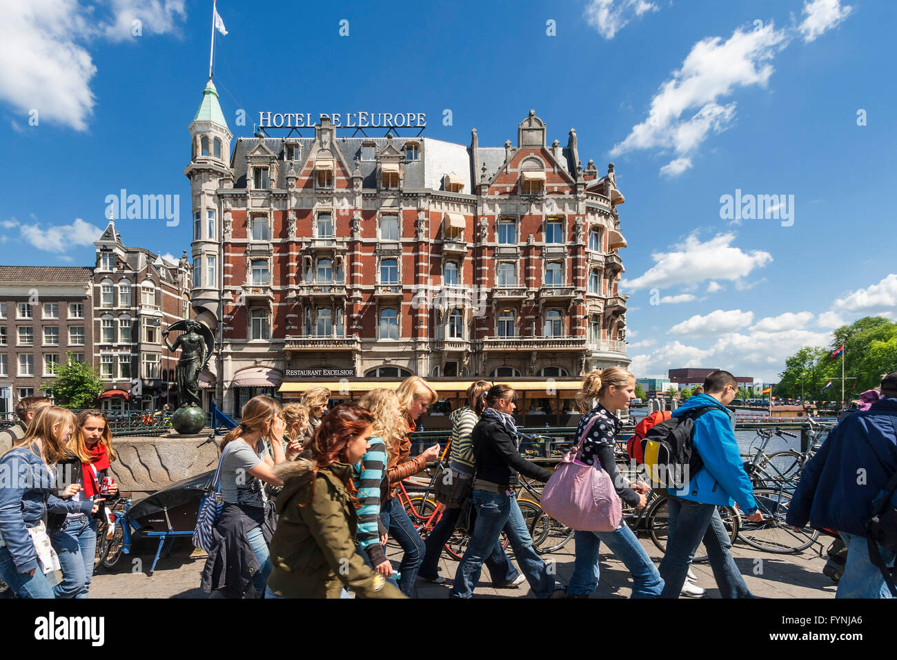 Amsterdam Hotel de l Europe school class Amsterdam, Netherlands Stock Photo
