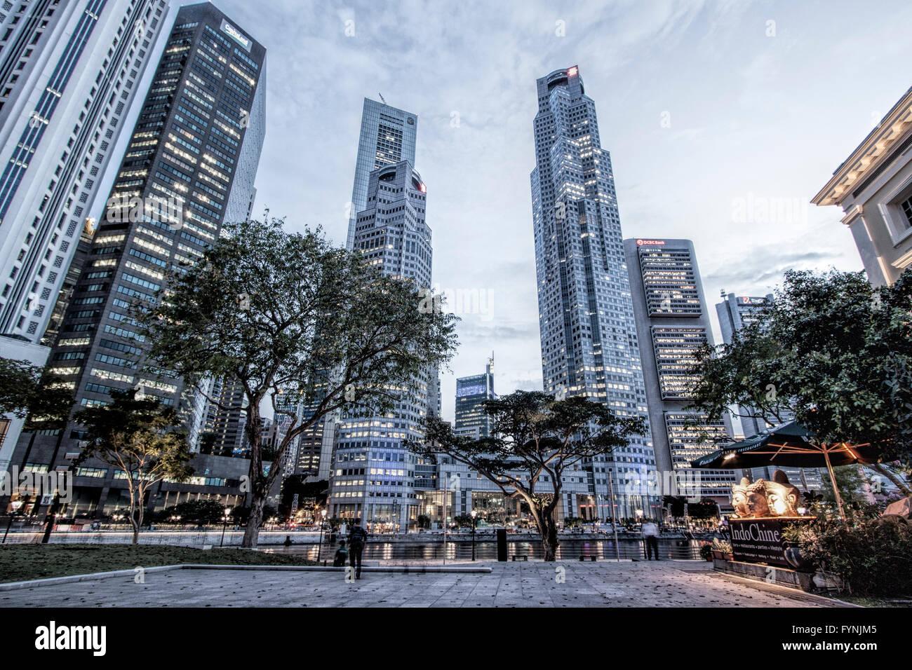 Asia Singapore, singapur skyline panorama Stock Photo