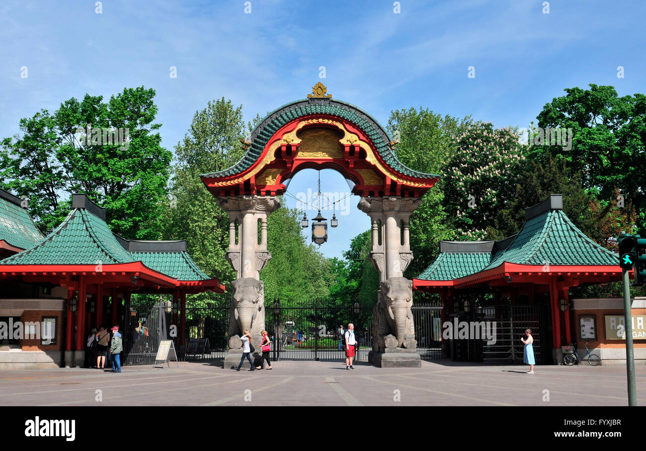 elephant 39 s gate elefantentor zoo berlin budapester strasse stock photo royalty free image. Black Bedroom Furniture Sets. Home Design Ideas