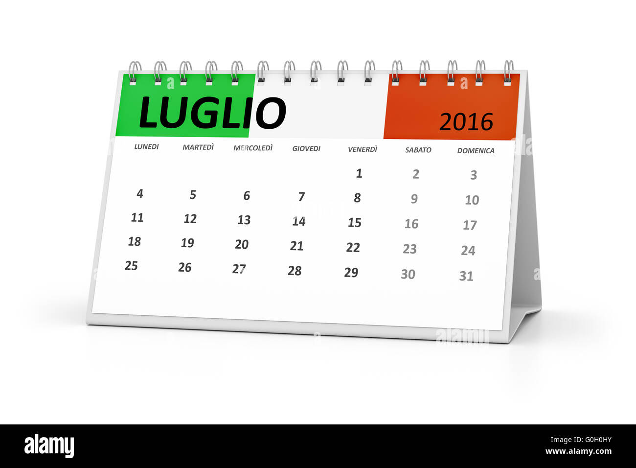 Table Calendar 2016 : Italian language table calendar july stock photo