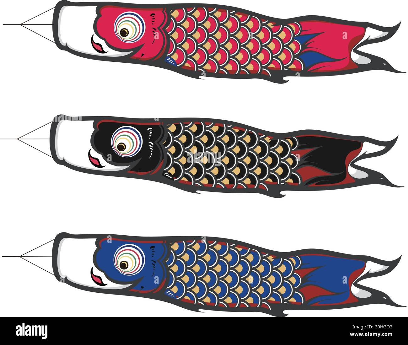 Koinobori which is a kind of japanese fish kites stock for Japanese koi windsock