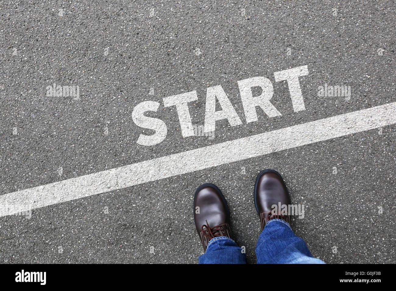 Start starting running race begin beginning businessman ...