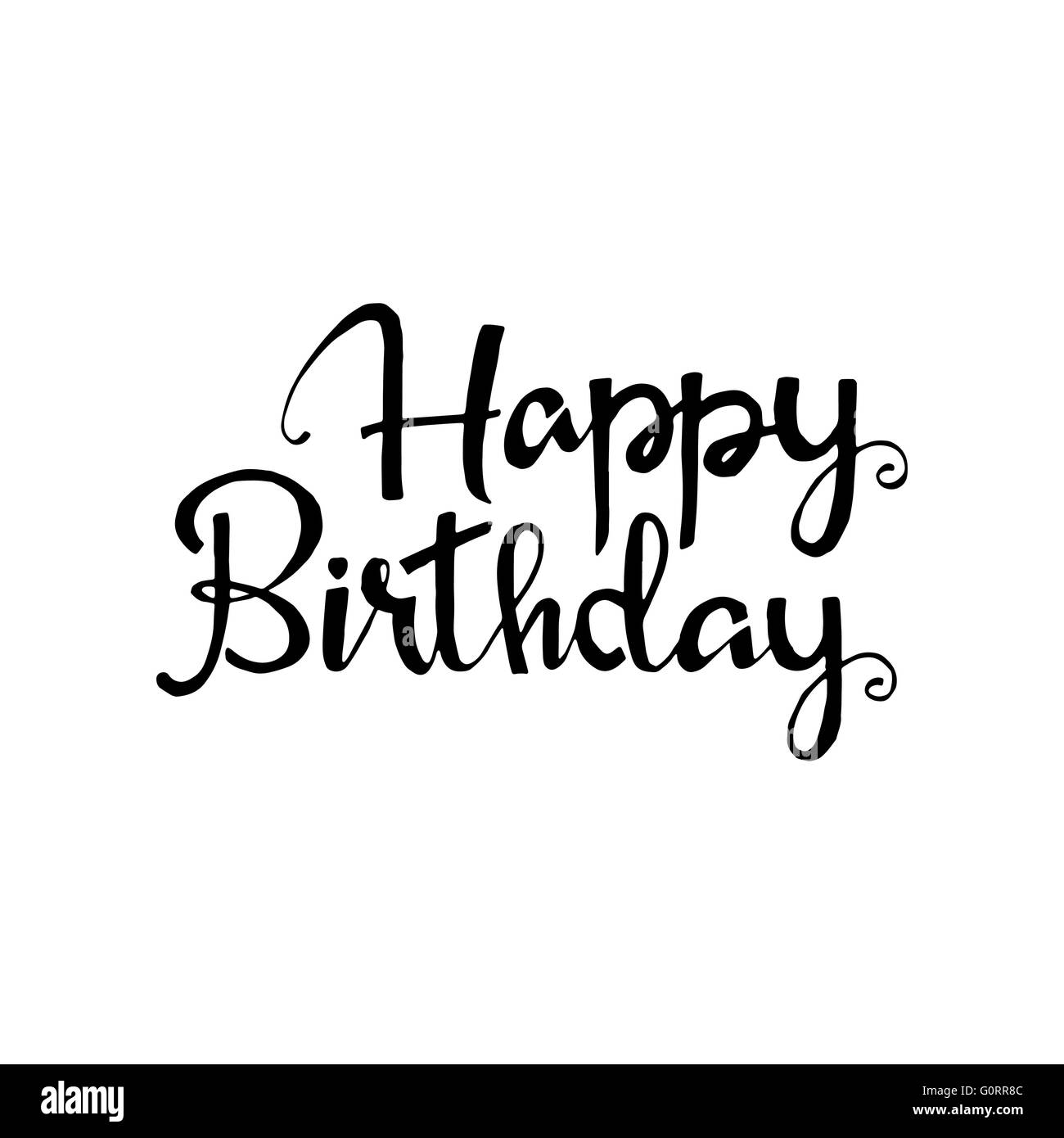 Happy birthday phrase handwritten lettering modern