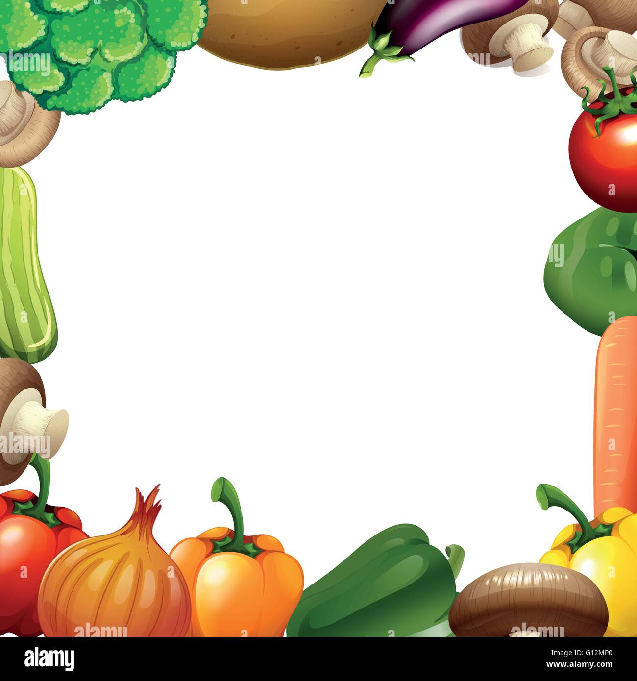 border design with mixed vegetables illustration stock