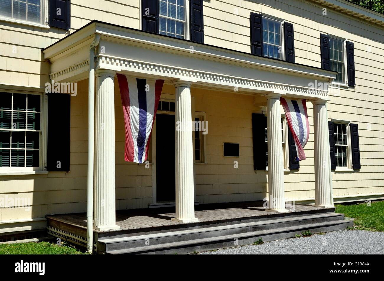 Entrance With Portico Columns : New york city entrance portico with four columns at