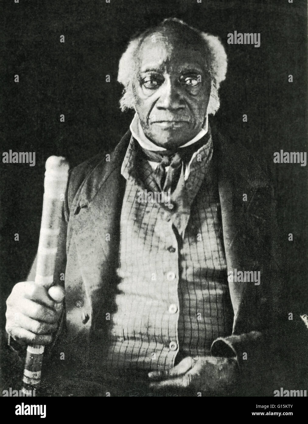 Portrait of Caesar, the last black slave in New York State, made circa 1859, long after he obtained his freedom. Stock Photo
