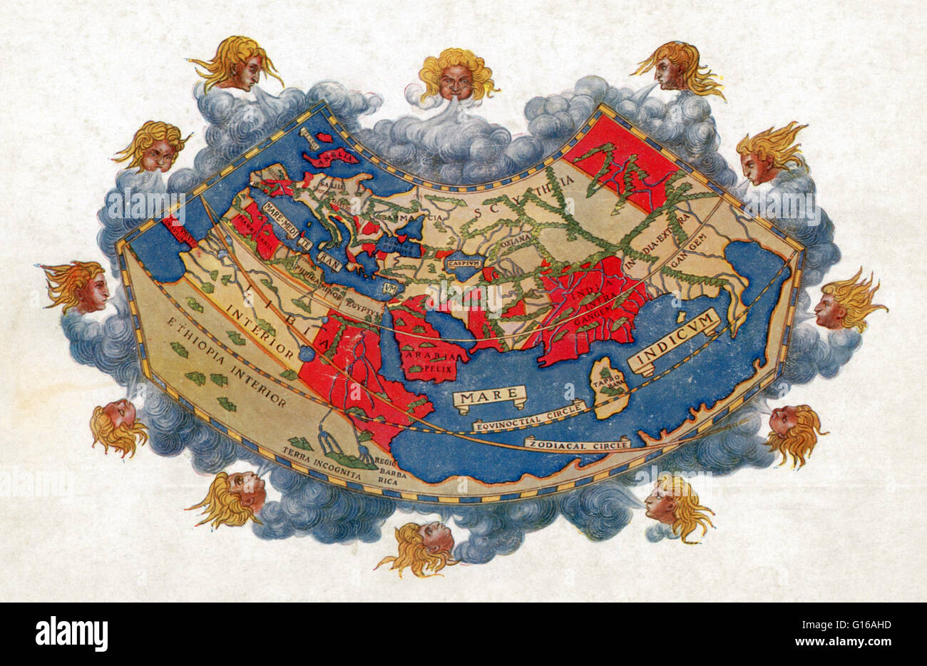 Ptolemy World Map Circa 150 Ad From