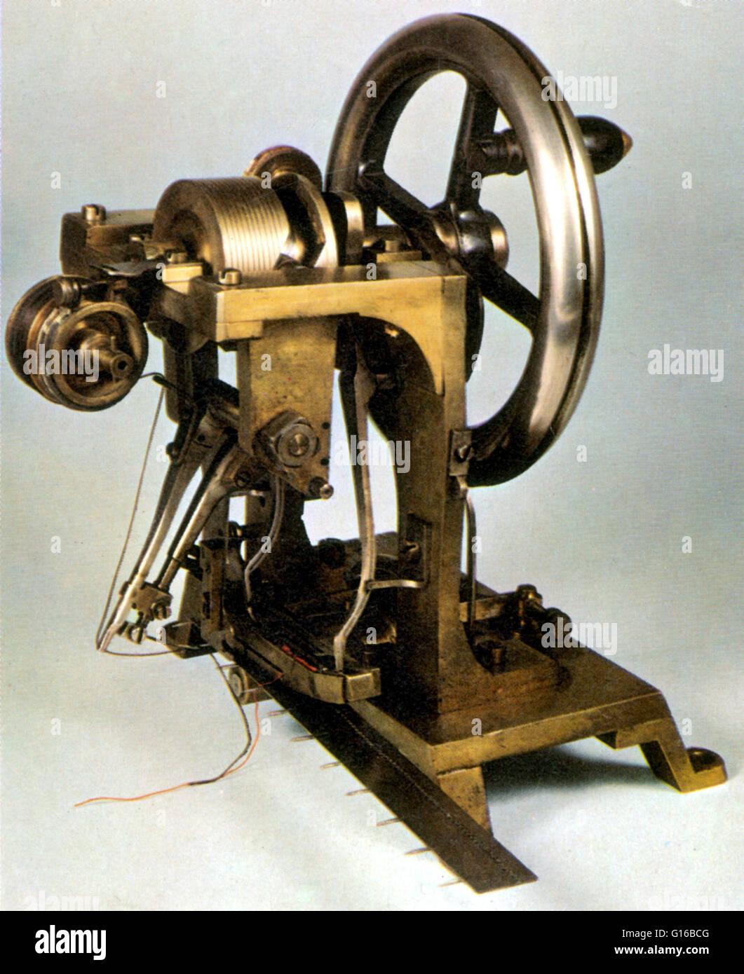 Howe's 1845 machine used lock-stitch. The shuttle loaded