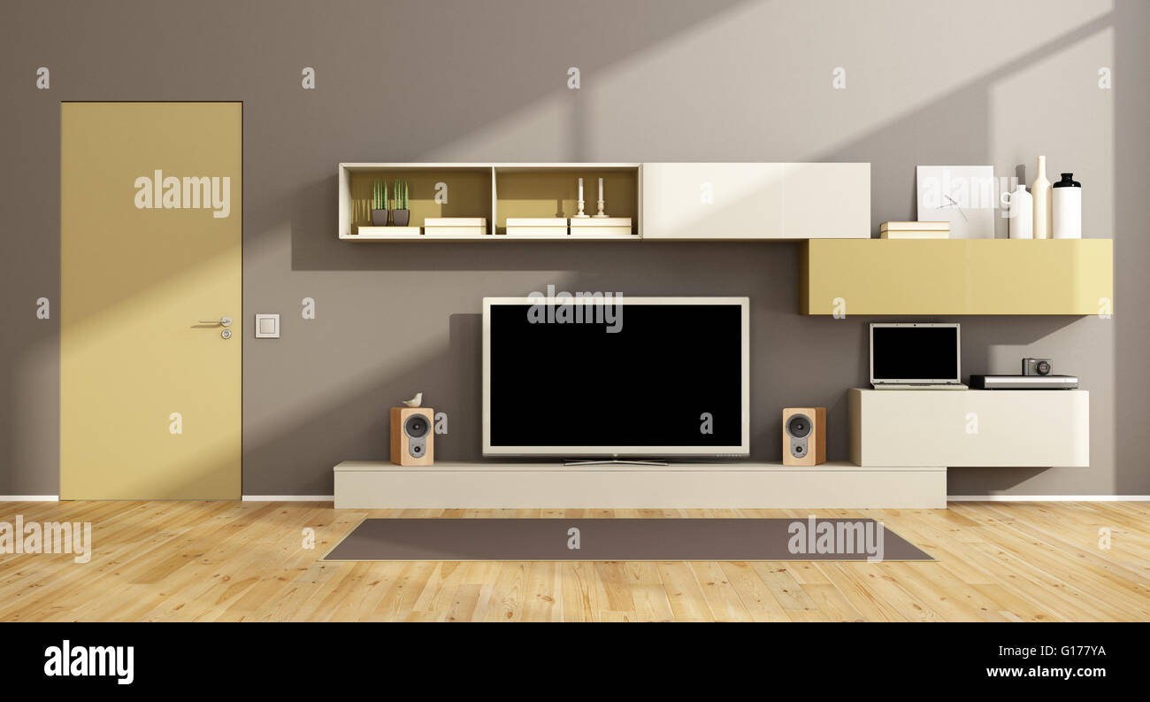 Modern Living Room With Wall Unit Tv Set And Closed Door