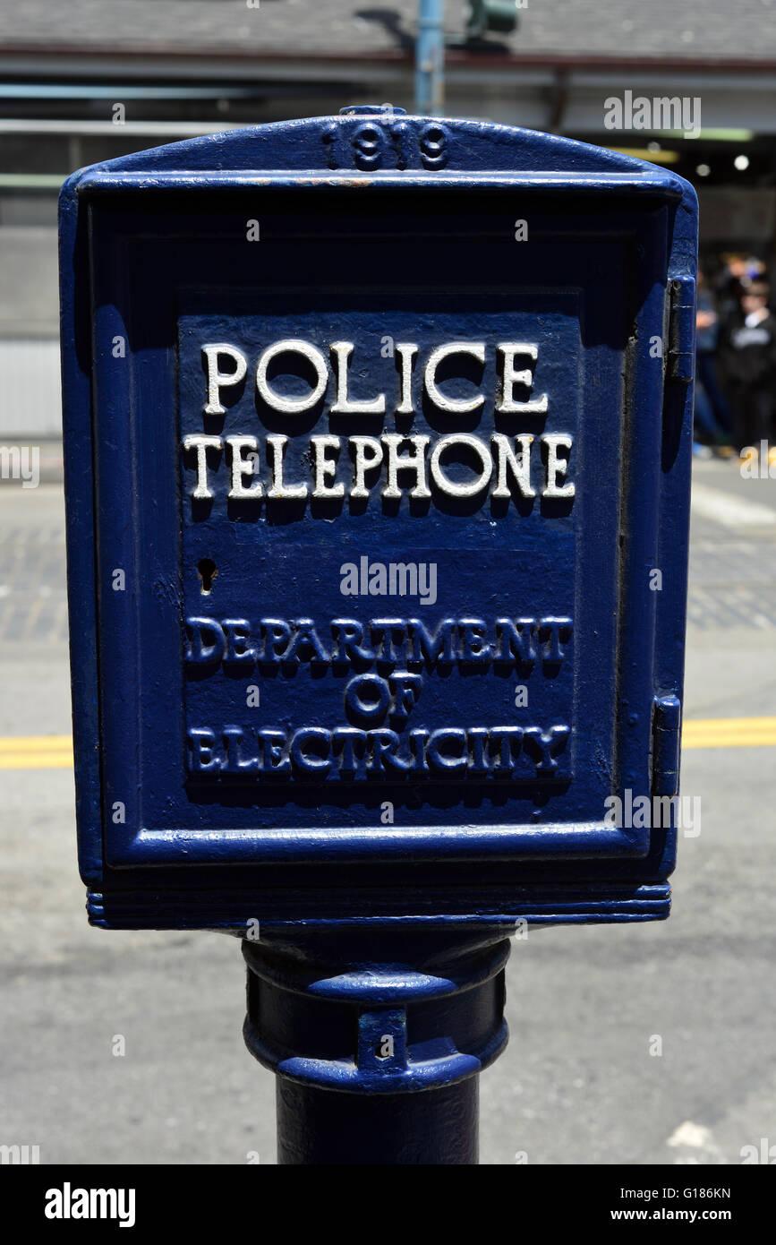 Antique police telephone call box near fisherman 39 s wharf for Buy reclaimed wood san francisco