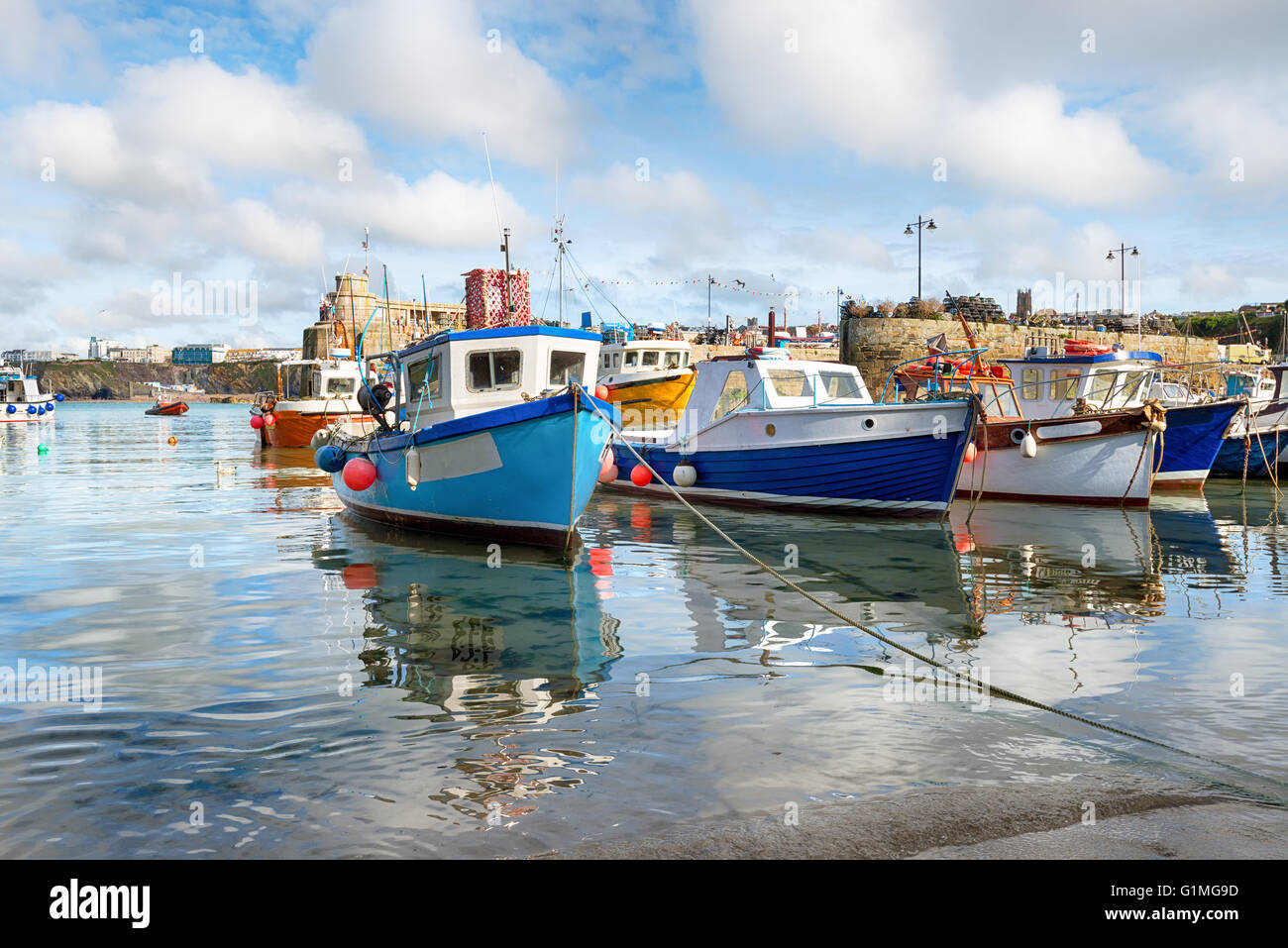 Fishing boats in the harbour at Newquay on the Cornwall coast Stock Photo