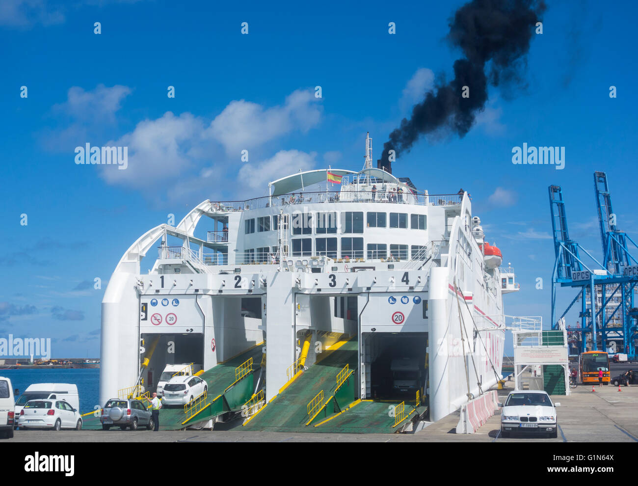 black smoke from naviera armas ferry funnel in las palmas