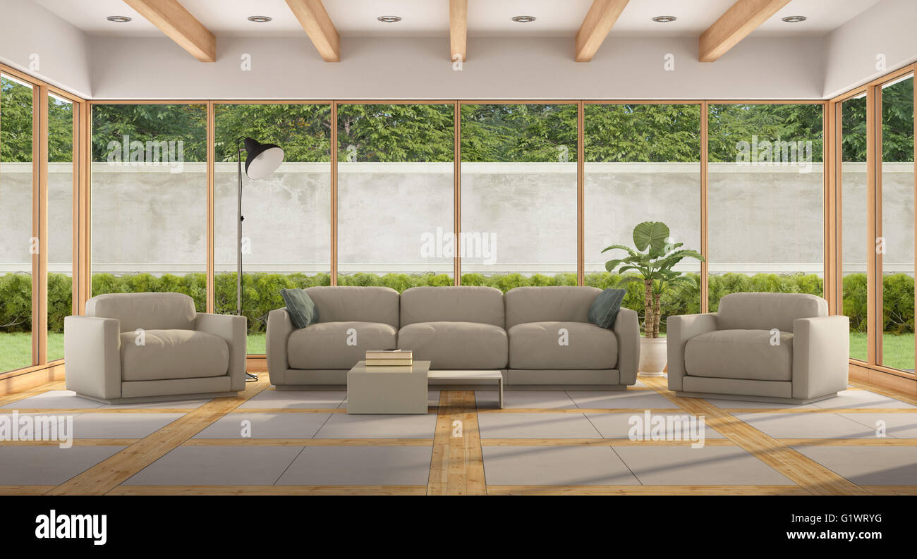 Modern living room of a holiday villa with large window for Large garden room