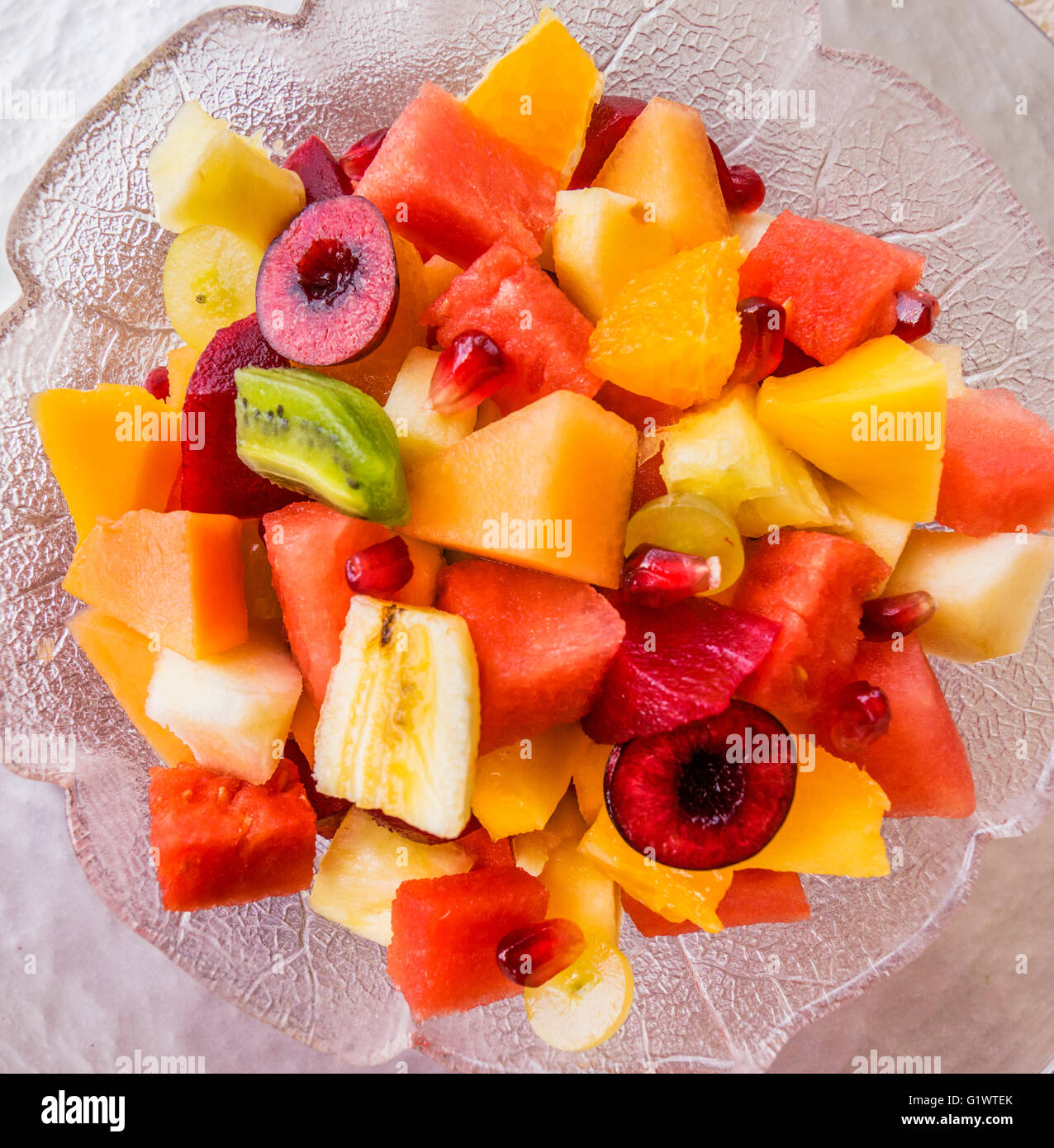 mixed fruit salad, water melon, mango, rock melon, honey ...