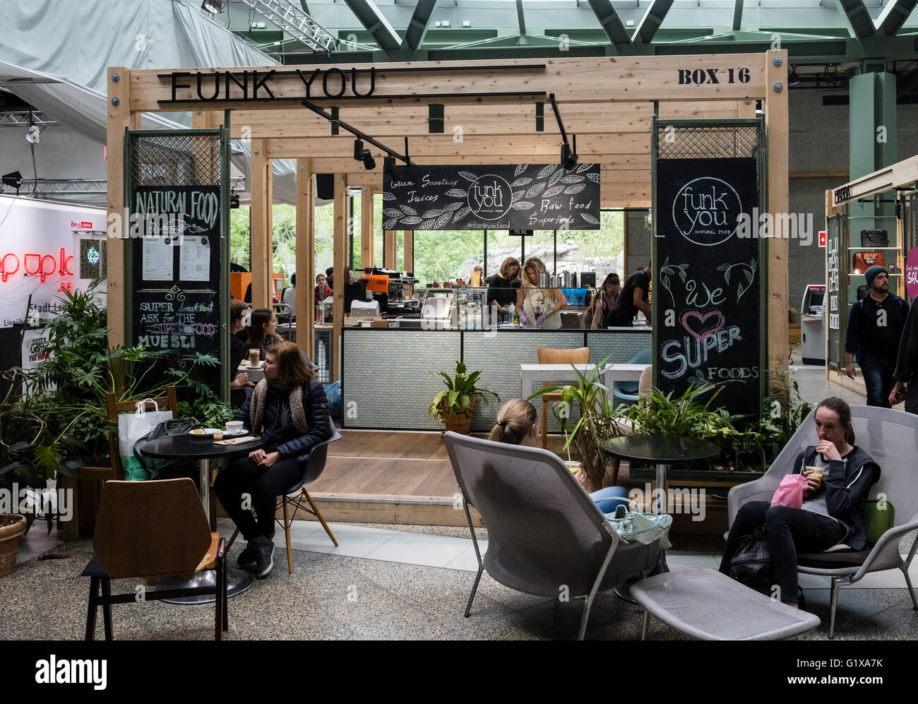 pop up cafe inside new bikini berlin shopping mall in charlottenburg stock photo 104455671 alamy. Black Bedroom Furniture Sets. Home Design Ideas