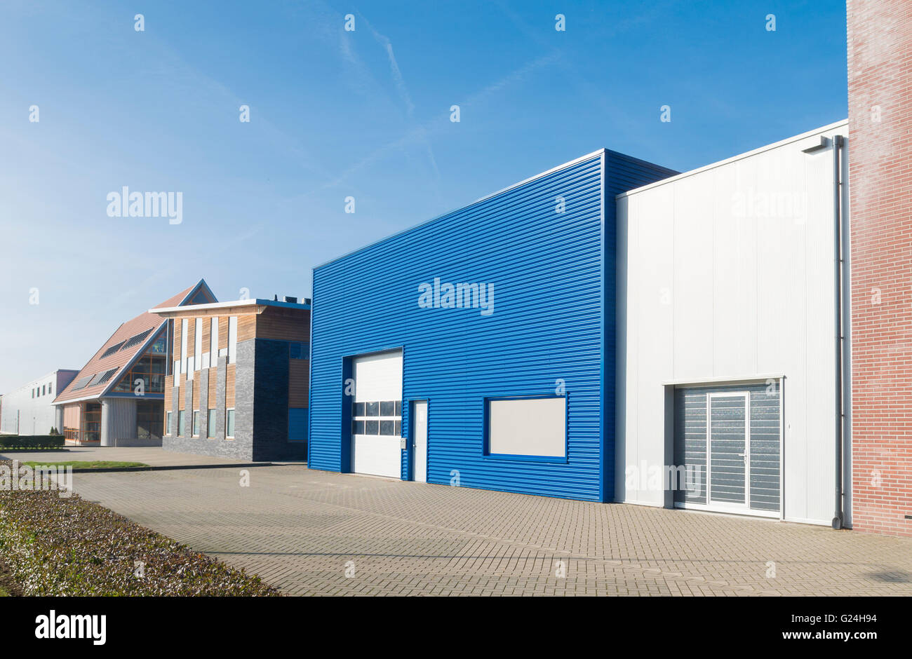 Small blue warehouse exterior stock photo royalty free for Warehouse building design