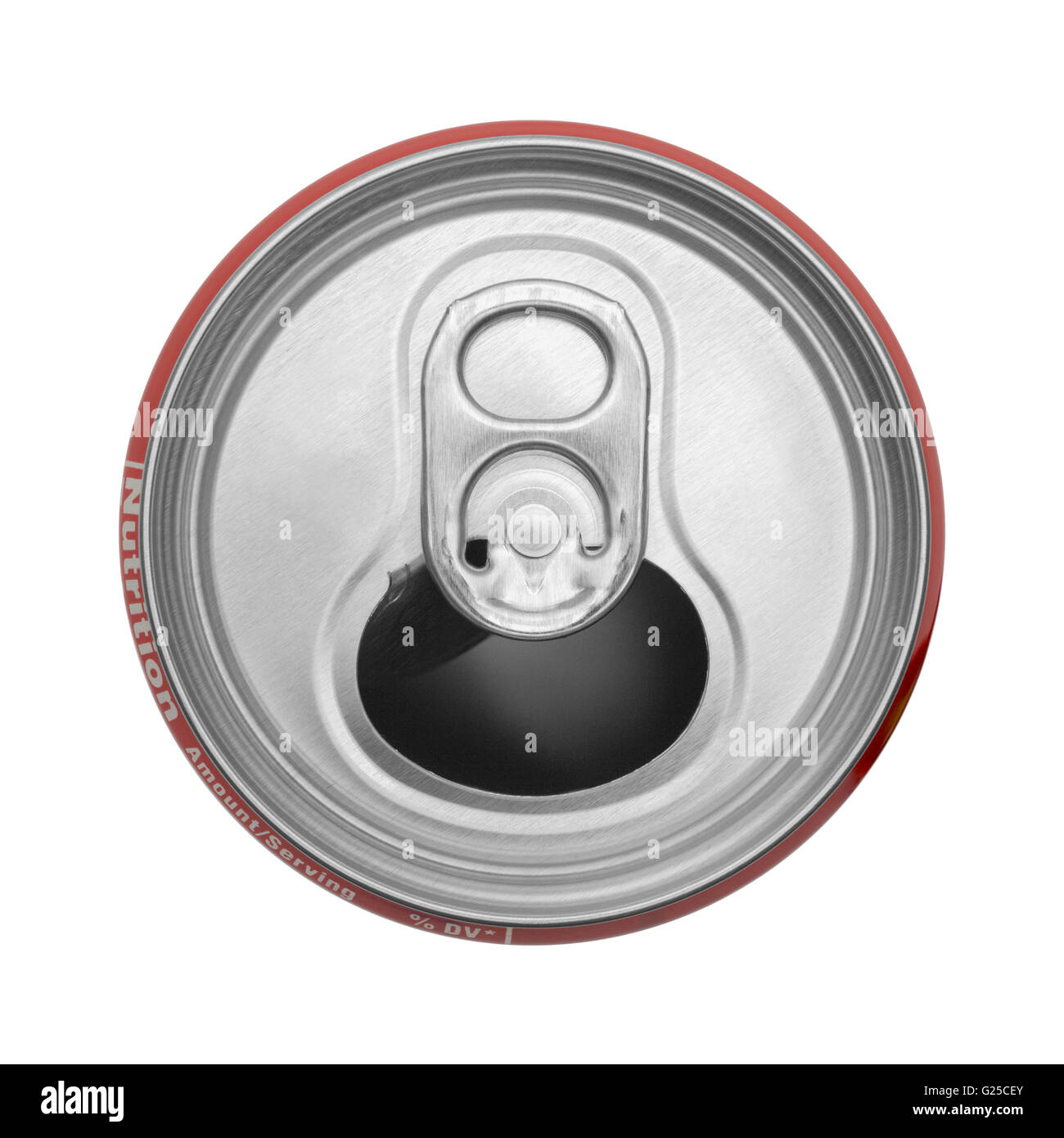 Top View Of Empty Open Soda Can Isolated On White