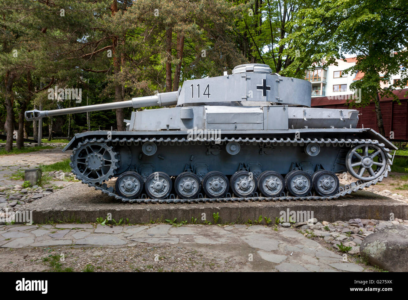 museum of snp military equipment from ww2 tank tiger iv german stock photo royalty free image. Black Bedroom Furniture Sets. Home Design Ideas