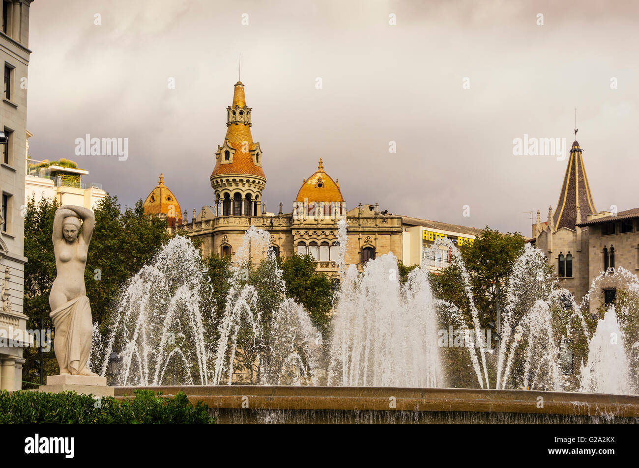 Teatre Tivoli  Theatre, Hotel Barcelona, Plaza de Catalunya Catalonia , Fountain, Square,  Barcelona, Catalonia, Stock Photo
