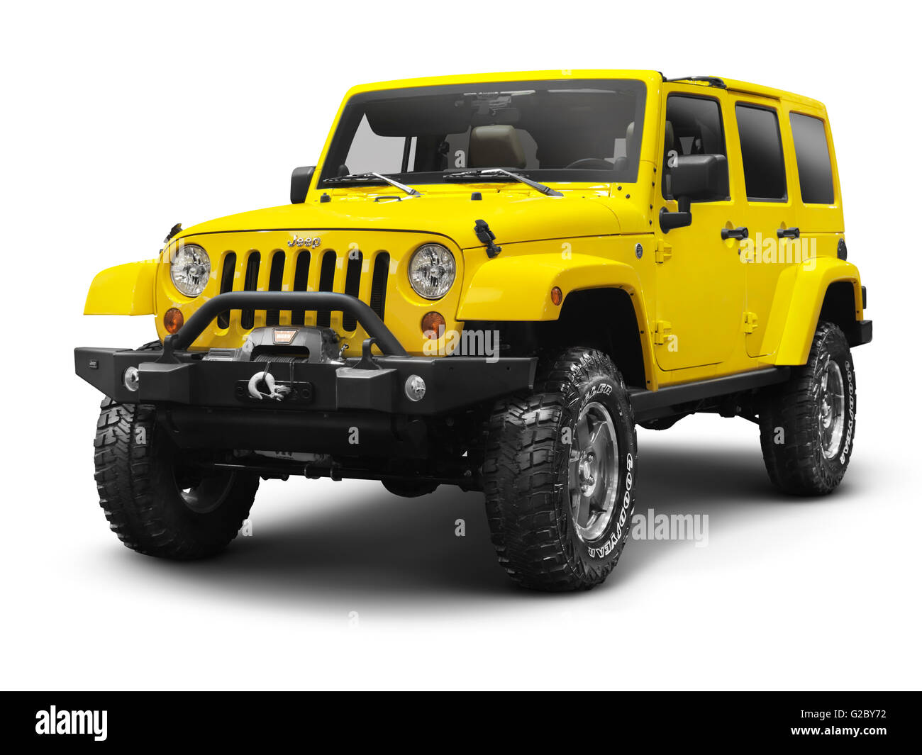 Yellow 2011 Jeep Wrangler Unlimited Sahara 4x4 Stock Photo