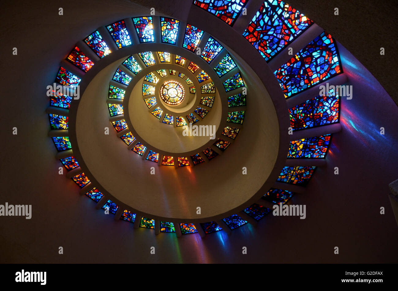 """Stained Glass In Spiral Pattern, """"Glory Window"""", Thanks"""