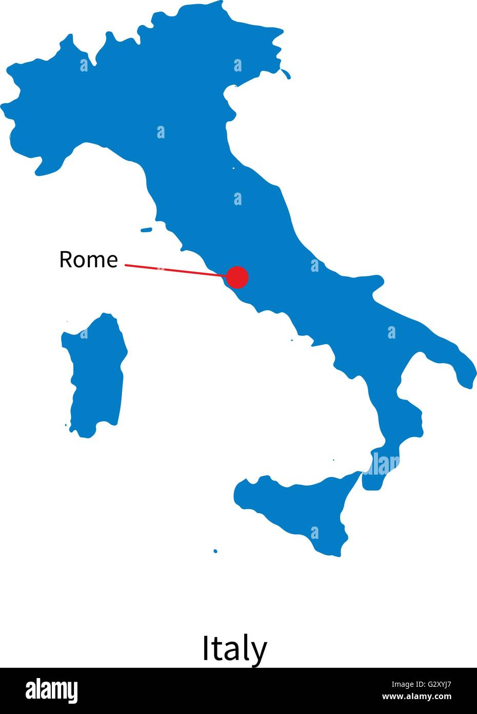 Detailed vector map of italy and capital city rome stock for Capital region craft fairs
