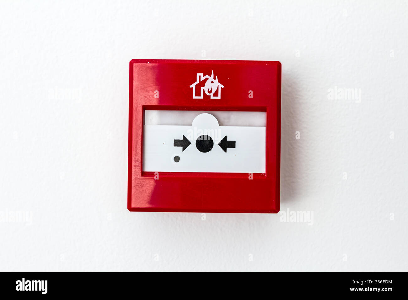 Red Fire Alarm Panel Box Is On The Wall To Smash Glass