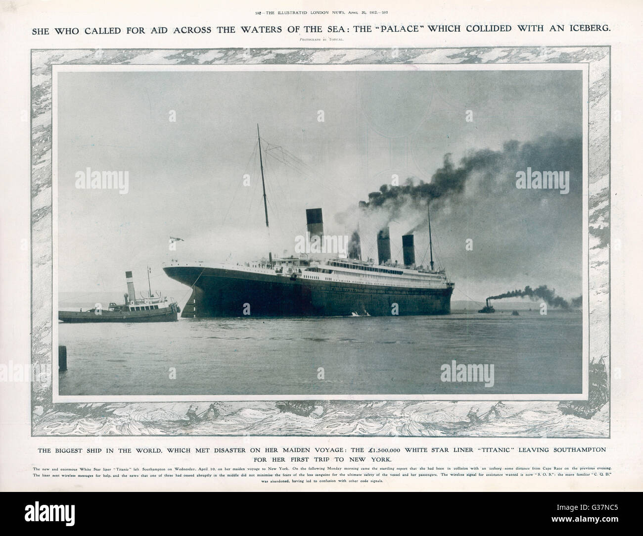 The SS Titanic leaving  Southampton to embark on  its ill-fated journey. The stern of the ship as it leaves port. Stock Foto