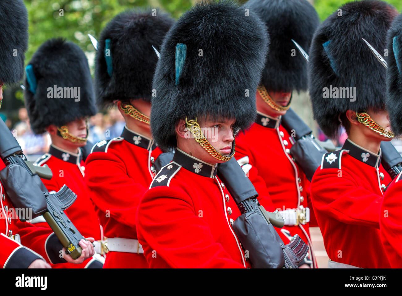 Irish Guards marching at The Queens Birthday Parade 2016 ...
