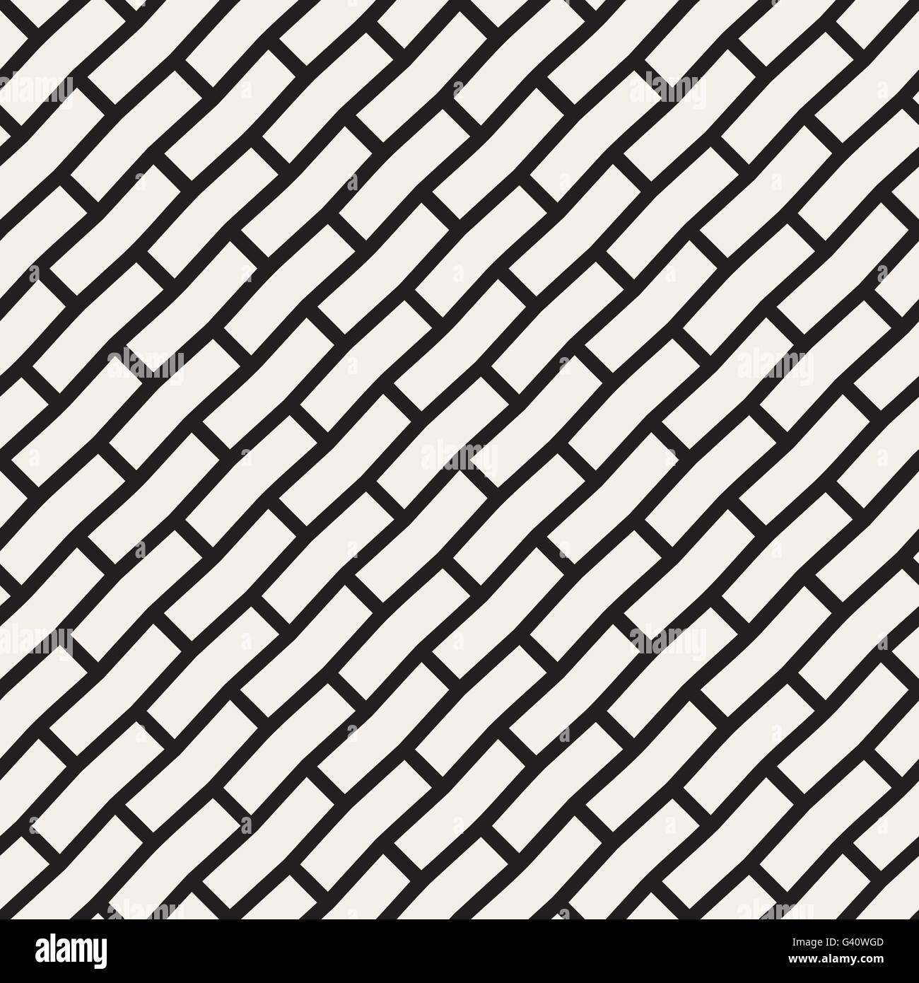 Diagonal Line Design : Vector seamless black and white brick pavement diagonal