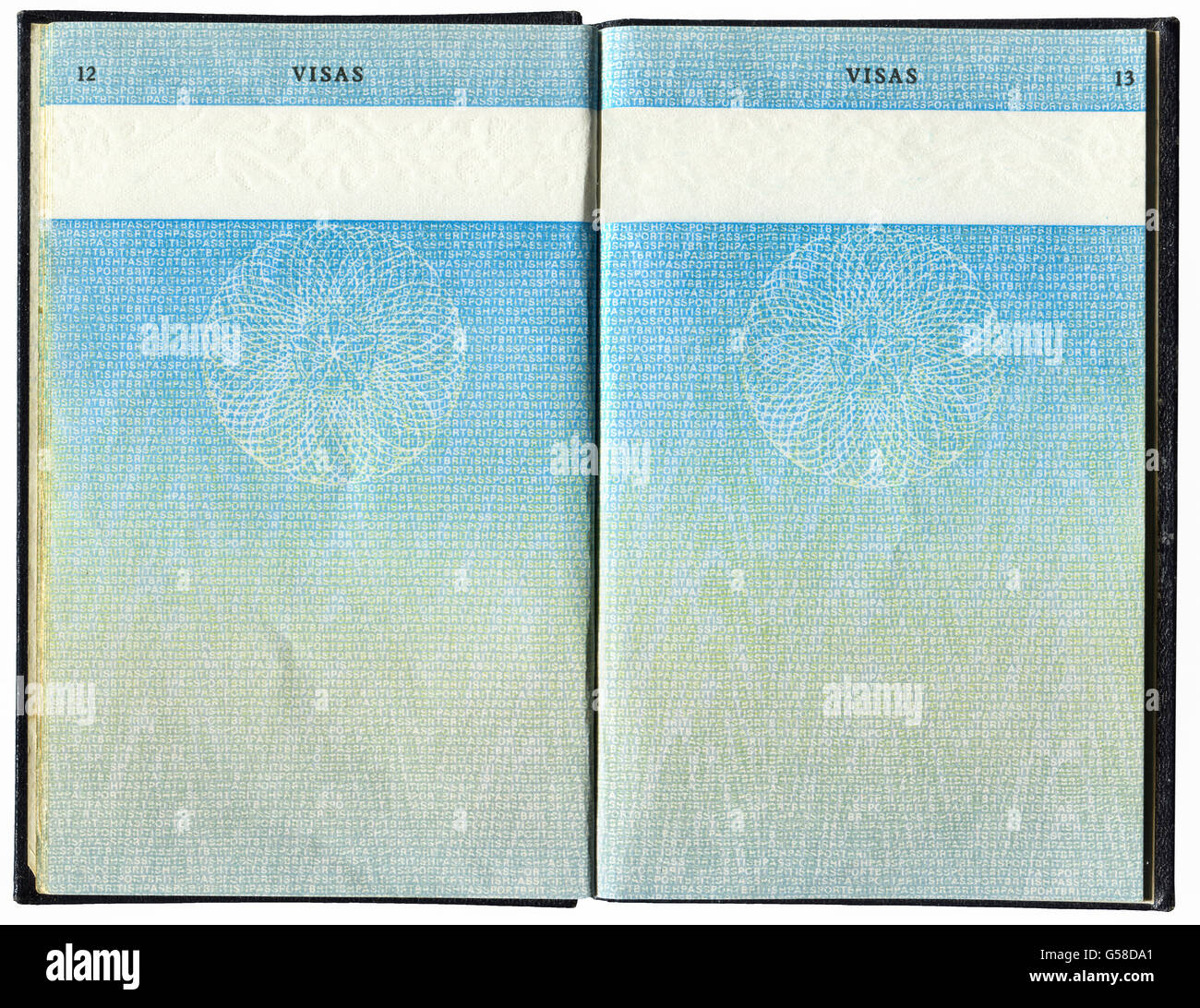 Pages for visas marks of old British Passport as ...