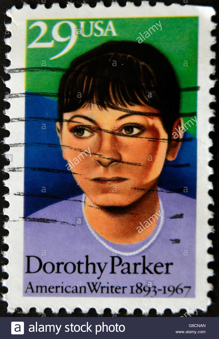 UNITED STATES OF AMERICA - CIRCA 1967 : stamp printed in USA show American writer Dorothy Parker, circa 1967 Stock Photo