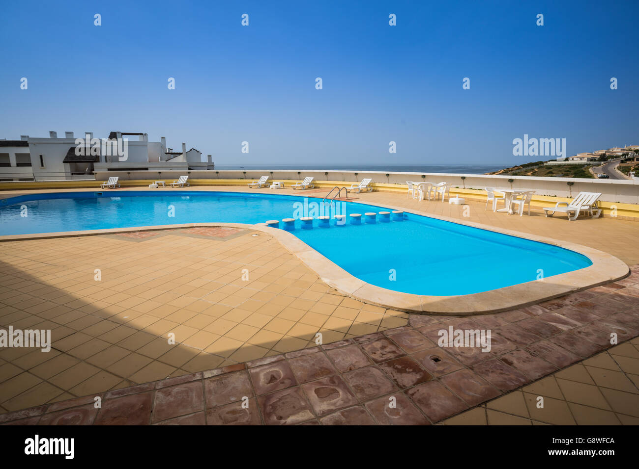 Pool On Top Of Building : Swimming pool on top of roof deck building stock photo