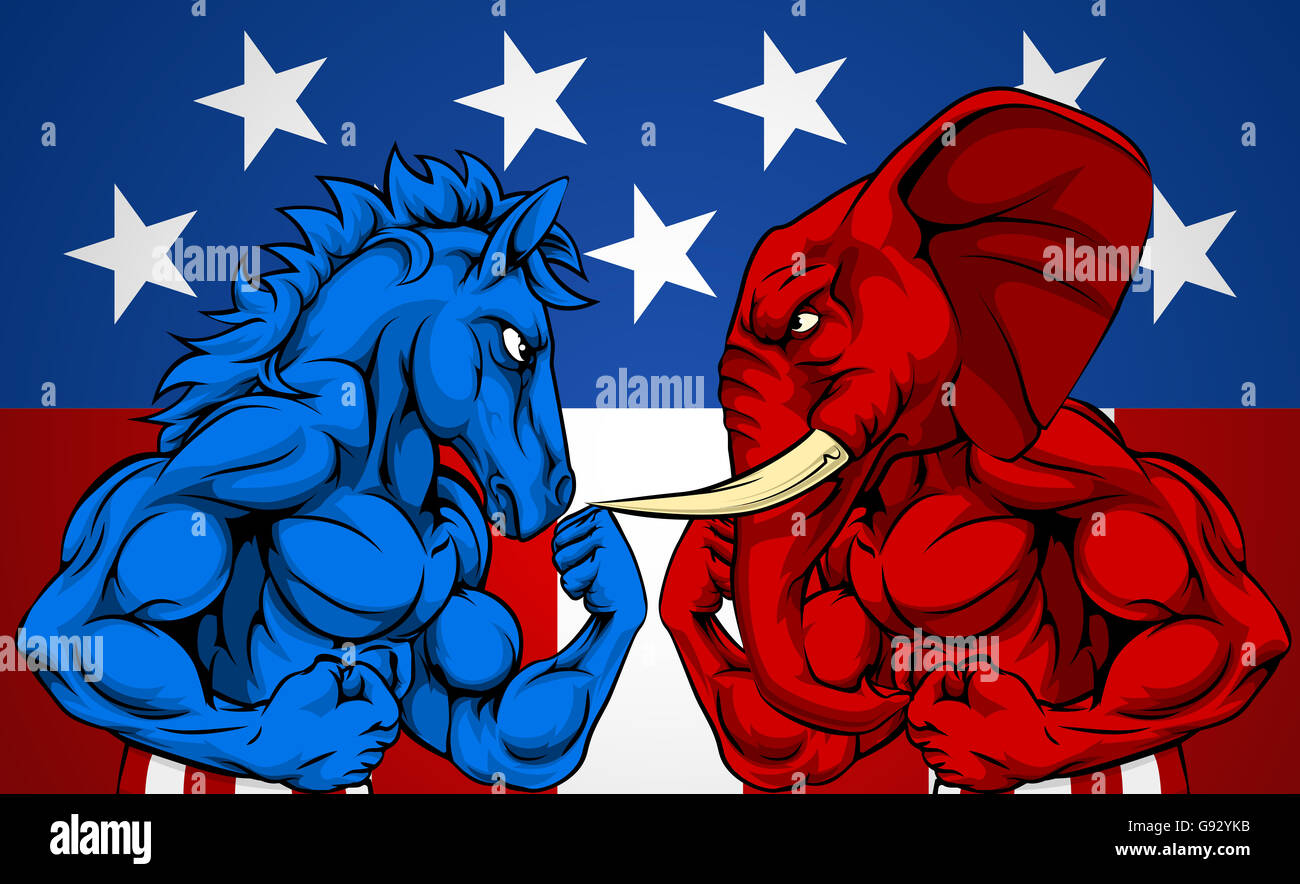 A blue donkey and red elephant fighting. American politics ...