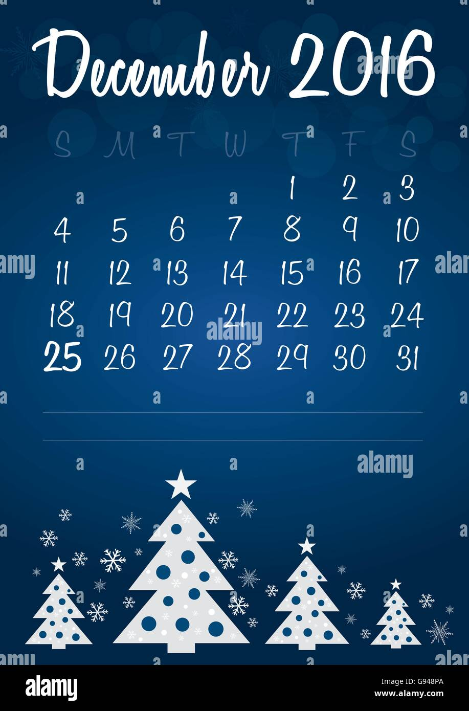 Christmas Calendar 2016 : December christmas calendar stock vector art