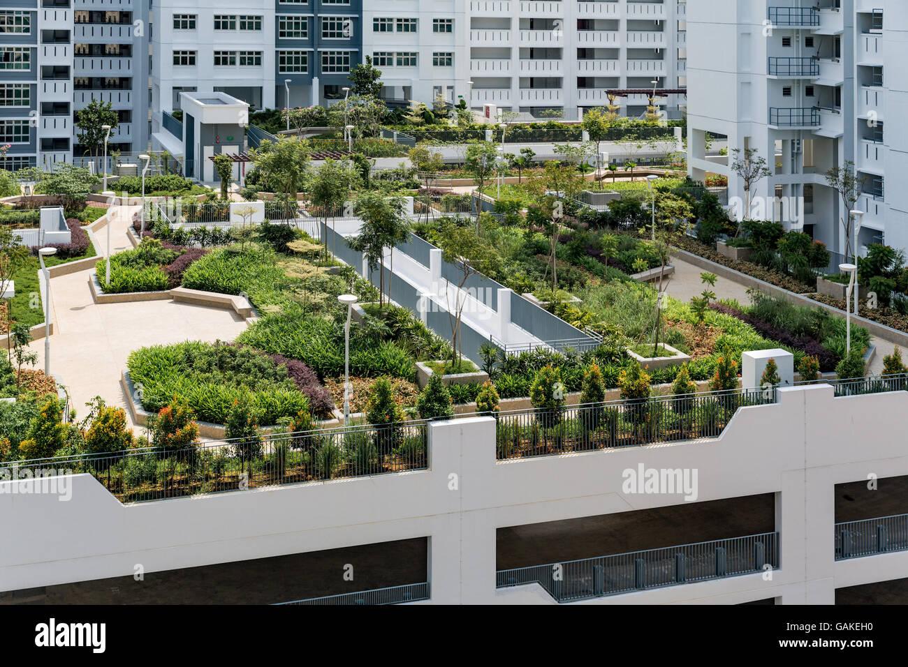 Roof top garden above car park in new singapore public for Home garden design singapore