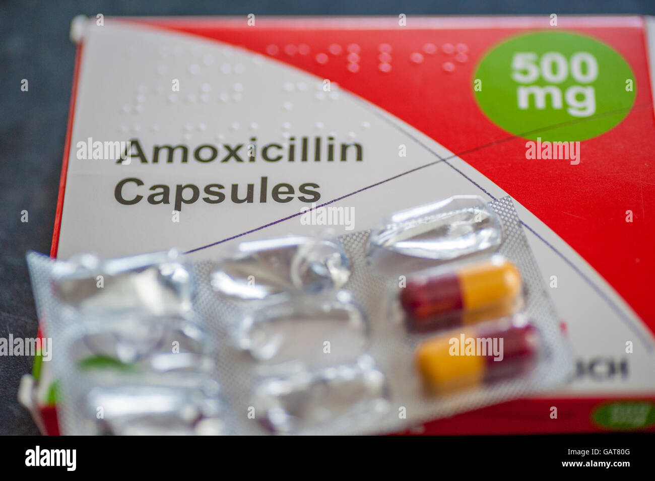 A pack of Amoxicillin 500mg antibiotics capsules Stock ...