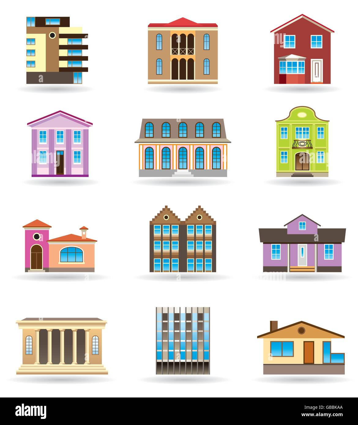 Buildings and houses in different architectural styles for Different home styles