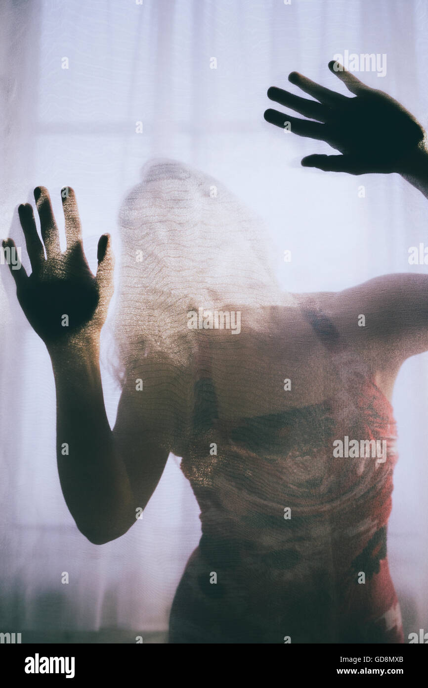 Trapped woman in distress Stock Foto