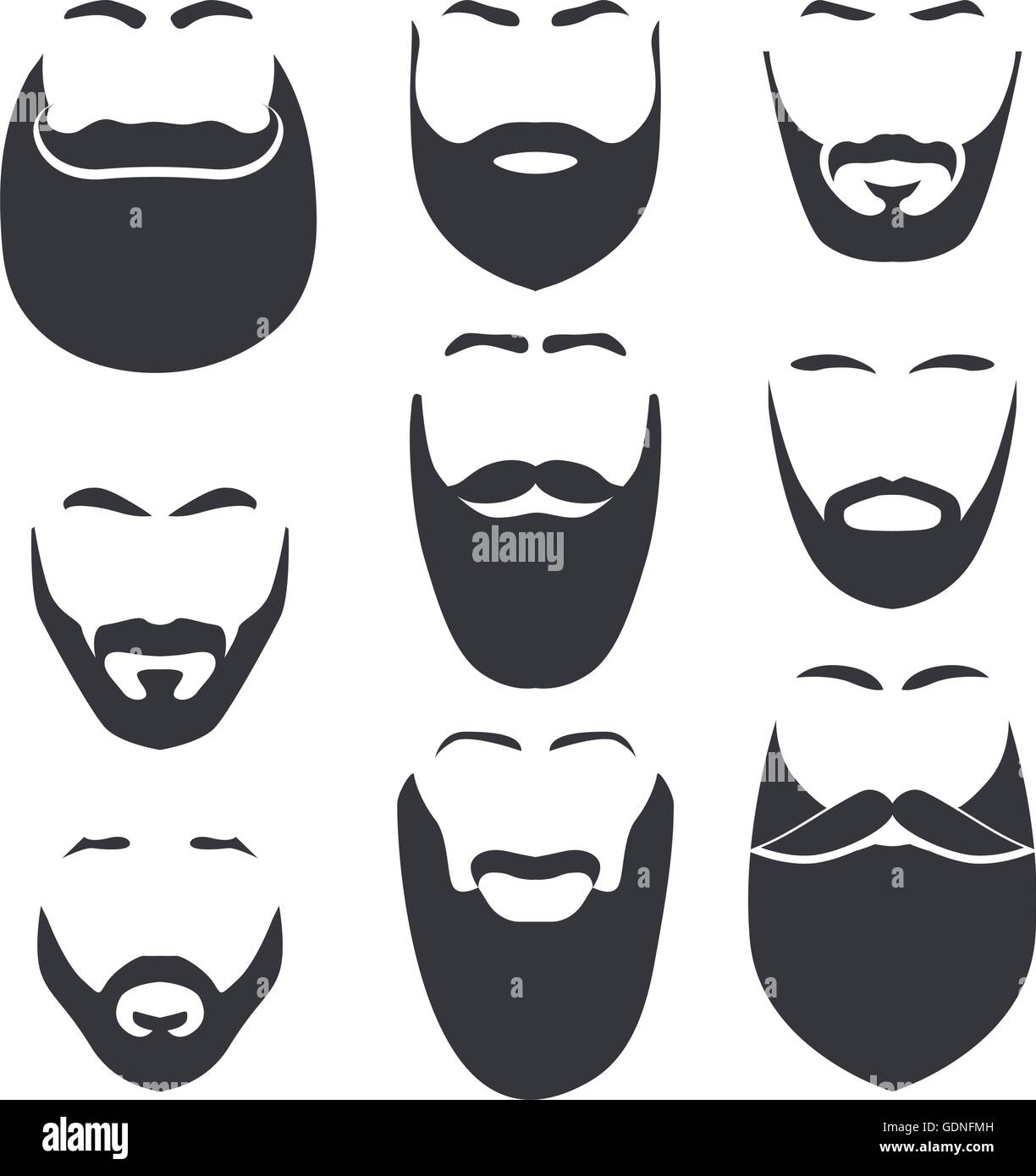 Isolated Face With Mustache And Beard Vector Logo Set Men