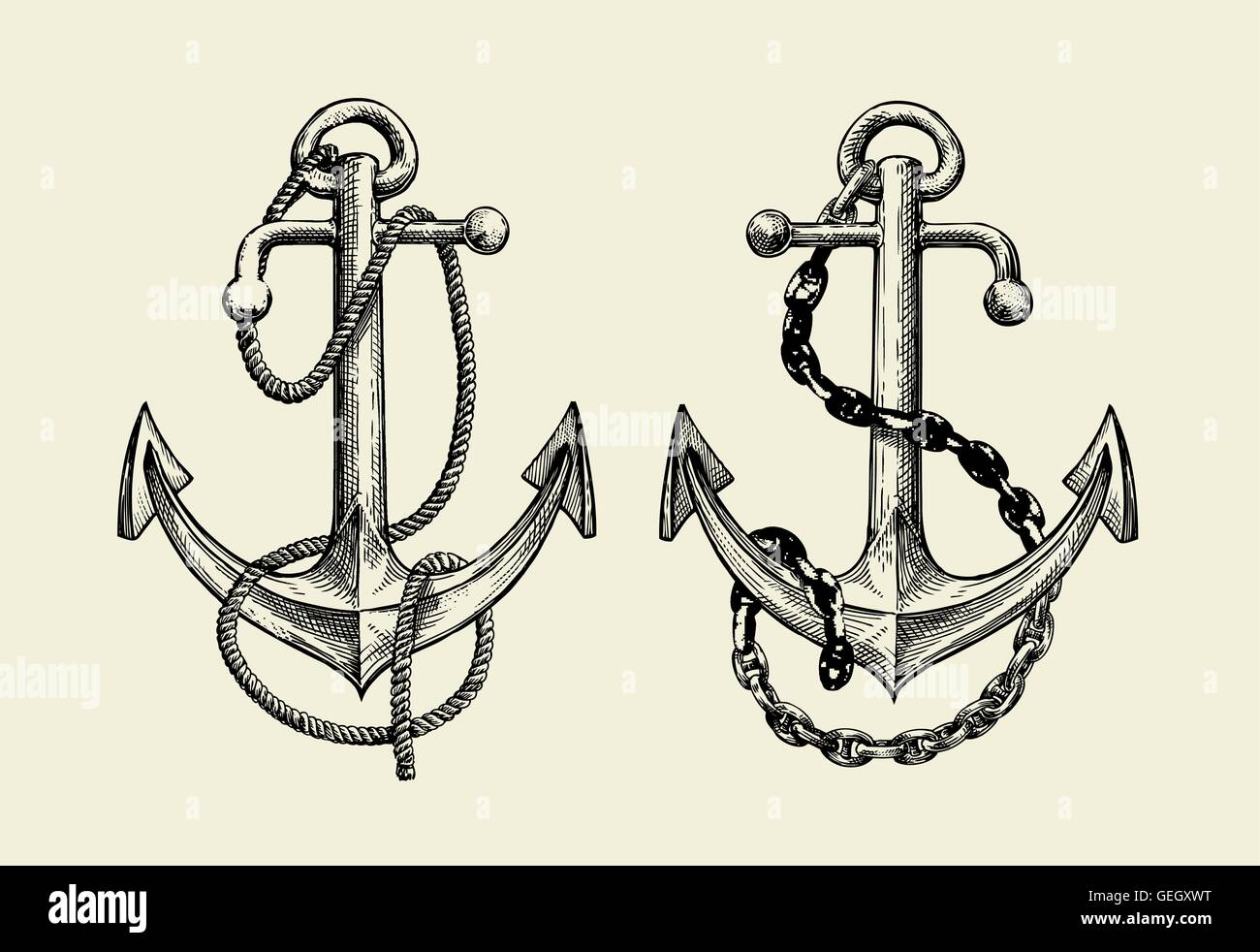 Line Drawing Anchor : Hand drawn nautical anchor vector illustration stock