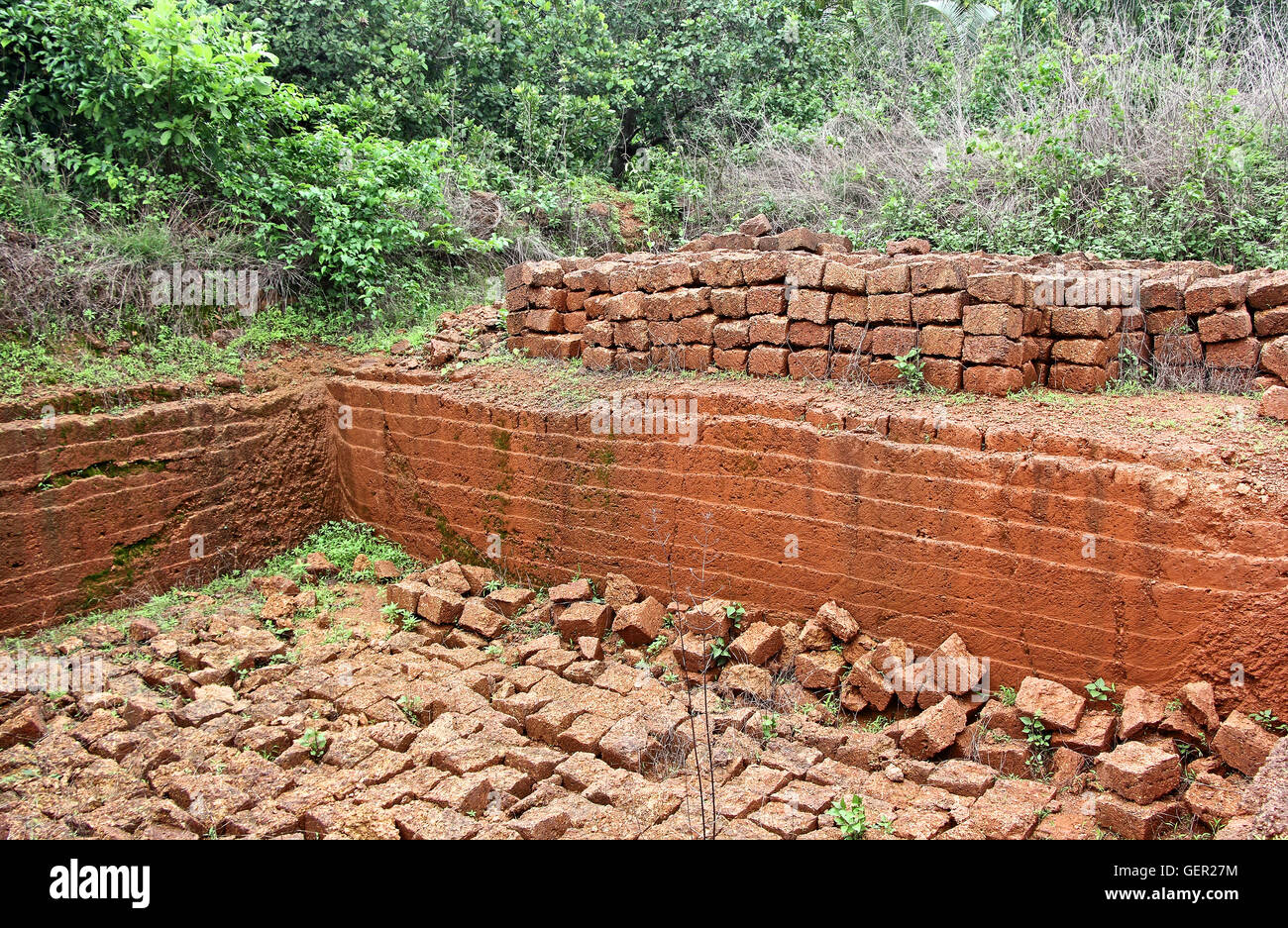 Stone Building Material : Quarry of laterite stone a soft rock widely used as