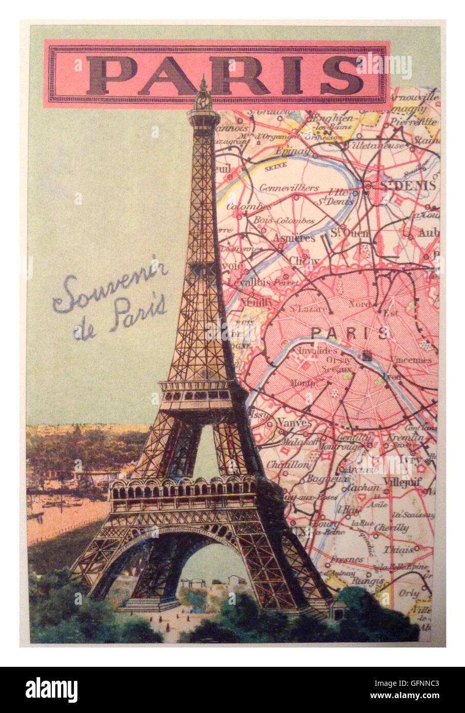 1900 39 s retro vintage travel poster for paris and the for Retro shop paris