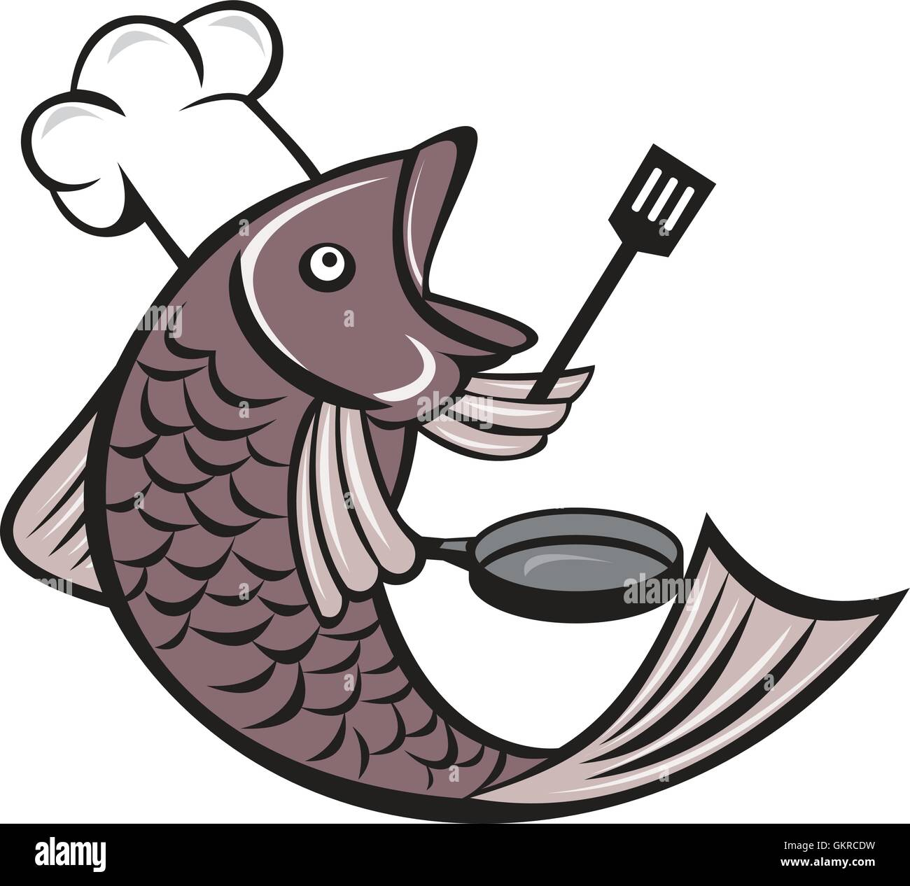 fish chef cook holding spatula frying pan cartoon stock Cartoon Shrimp Cartoon Shrimp