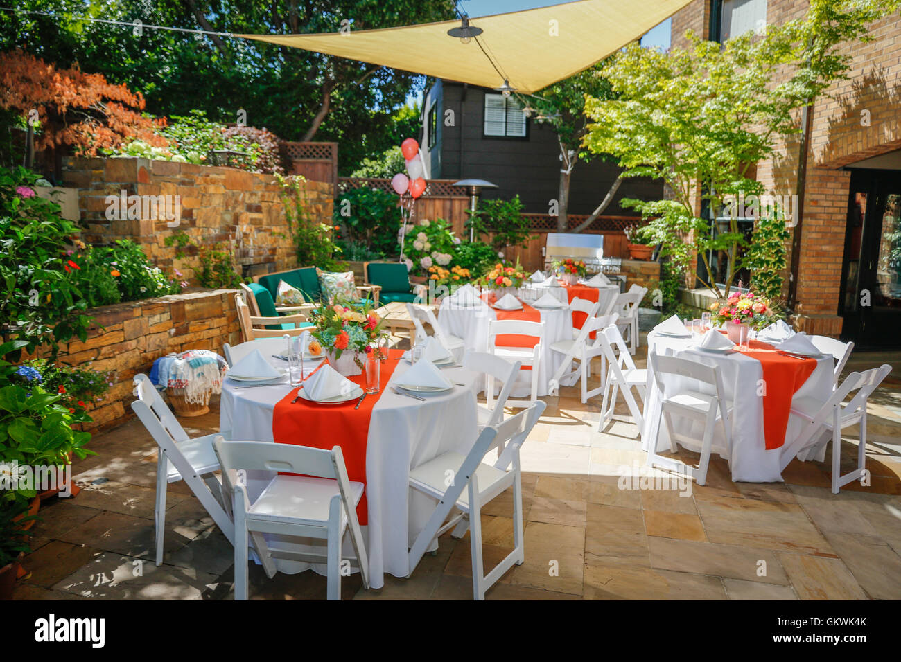 Outdoor Party Table Setting Stock Photo Royalty Free