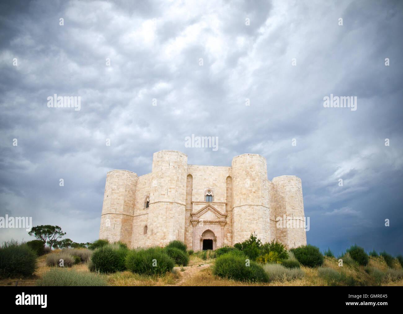 Castel del Monte, Andria, Apulia - castle dramatic cloudy sky Stock Photo