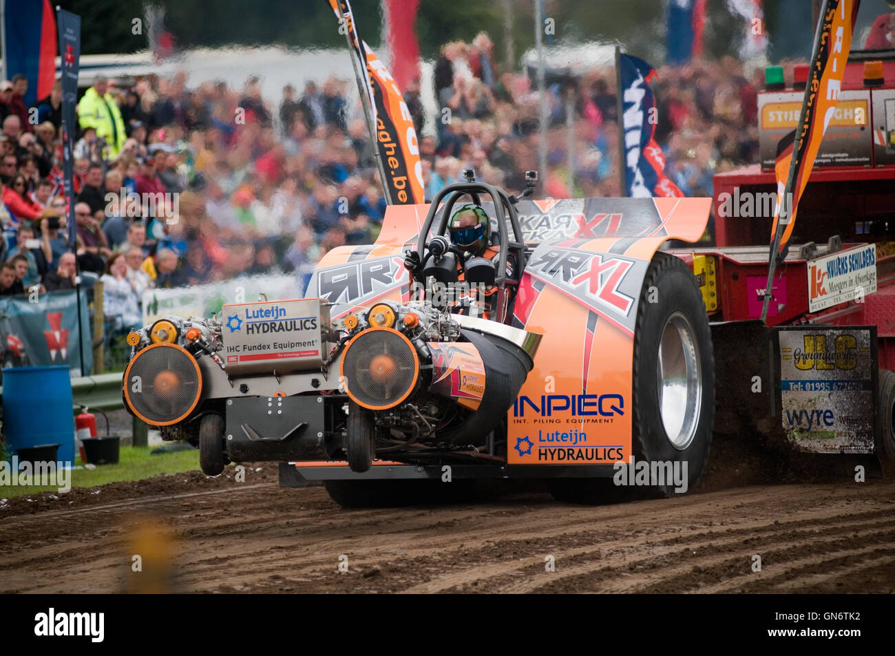Tractor Pull Sled Flag : Jet engine powered ton modified tractor pulling a sled